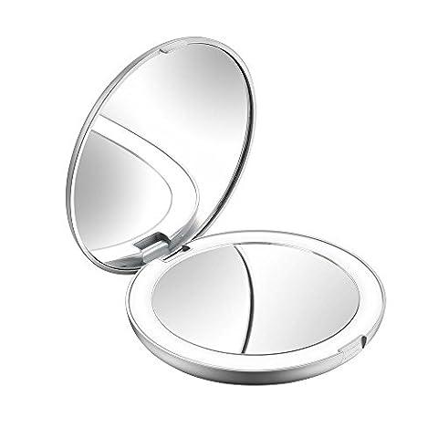 Miroir Grossissant 8 Fois - Jerrybox Miroir de Poche LED, Lumière, 5X