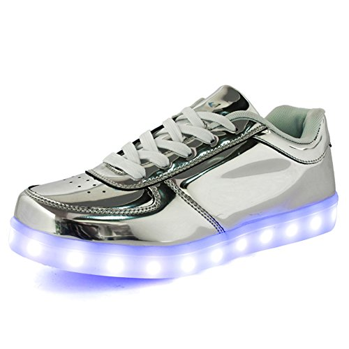 Fortuning's JDS Erwachsener Unisex Spiegel niedrig Oberseite schnüren sich oben LED blinkende Turnschuhe USB aufladende leuchtende Schuhe