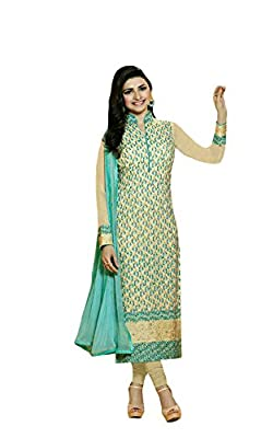 Dress ( Shoponbit Beige colour Georgette embroidered and Chifli work Unstitched party wear Dress Material ) - Beige Type: Unstitched