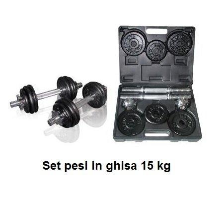 Toorx Accessori Pesistica Kit Pesistica Valigetta Pesi Ghisa 15 Kg. (2 Manubri + Dischi 8X1Kg + 4X0,75Kg) Grigio Unica