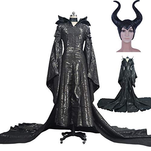 Damen Teufel Kostüm Verkleidung Aus Kleid, Halsband, Hörnermaske Teufelin in Schwarz,S