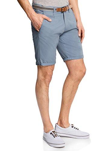 Oodji ultra uomo pantaloncini in cotone con cintura, blu, it 46 / eu 42 / m