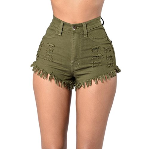 Kanpola Frauen Jeans Sommer Hohe Taille Strand Hot Ripped Shorts (XL, Armee grün) (Ladung Mädchen Rock)