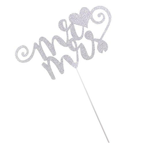 FITYLE Bride To Be Cake Topper, Hochzeit Tortenstecker, Papier Tortefigur, Hochzeit Hochzeitstorte Kuchenaufstecker - Silber Mr & Mrs, 12 x 6 cm
