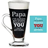 YaYa Cafe You Can Do Anything Engraved Glass Mug With Coaster For Father's