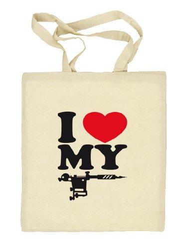 Shirtstreet24, I LOVE MY TATTOO, Tätowierung Tätowierer Stoffbeutel Jute Tasche (ONE SIZE) Natur