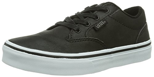 Vans - Sneaker Y WINSTON (LEATHER) BLACK, Unisex - bambino Nero (Leather Black L3N)