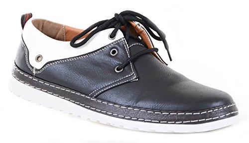 fourever Funky Hombre Piel vegana Dos Tonos cordones mocasines zapatos de Oxford, color Negro, talla 42 EU (M)