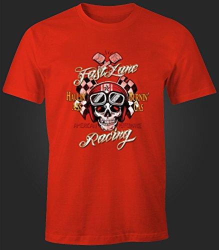 Herren T-Shirt Totenkopf Motorrad Helm Racing Biker Rot