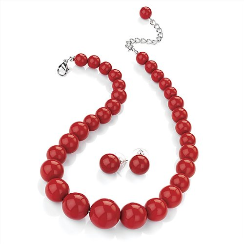 hot-red-acrylic-bead-choker-necklace-and-stud-earring-set-silver-tone-34cm-l-7cm-ext