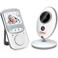 Monitor Inalámbrico para Bebés Fitnate® con Cámara Digital, Visión Nocturna Monitoreo de Temperatura y Sistema de Comunicación de Dos Vías, Canciones de Cuna a Distancia Incorporadas, Señal Más Fuerte, Monitor Grande