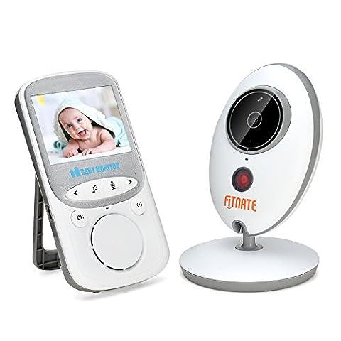 Fitnate® Video Baby-Monitor/Baby-Phone, Drahtlos, Nachtsichtfunktion, Temperaturüberwachung & 2 Wege Wechselsprech-System, Eingebaute Fernbedienbare Schlaflieder, Stärkeres Signal, Größerer Monitor