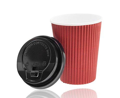 Premium Ripple Cups 0,4 l , Bordeaux + stabile Deckel mit Trinköffnung, Riffelbecher, Coffeecups, Einwegbecher, Pappbecher, To-Go Becher, Kartonbecher, Hartpapier, Take away Geschirr, Bordeaux (25) Band Kaffee