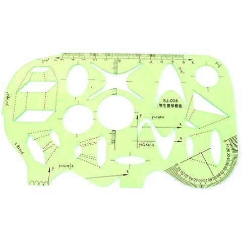 Studenti matematica disegno-Goniometro in plastica, modello righello, colore: verde chiaro - 12 Di Plastica Trasparente Righello