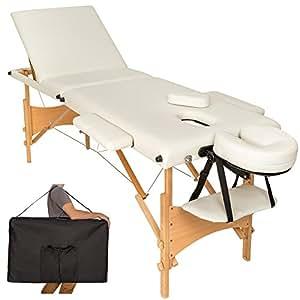 TecTake Lettino massaggi portatile massaggio fisioterapia 3 zone pieghevole beige + borsa