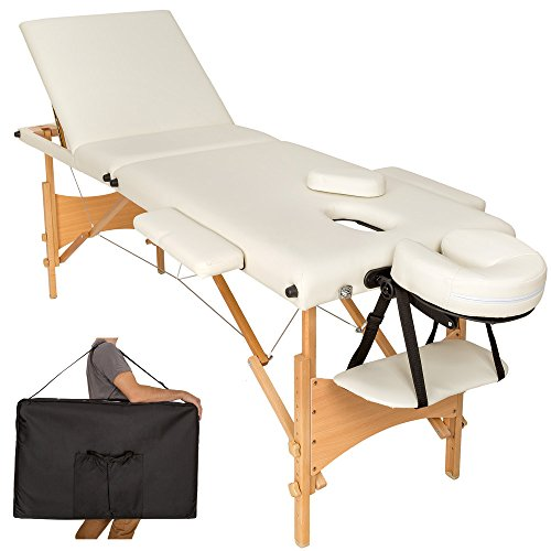 TecTake Mobile Massageliege 3 Zonen höhenverstellbar inkl. hochwertiger Kopfstütze + Tasche - diverse Farben - (Beige | Nr. 401465)