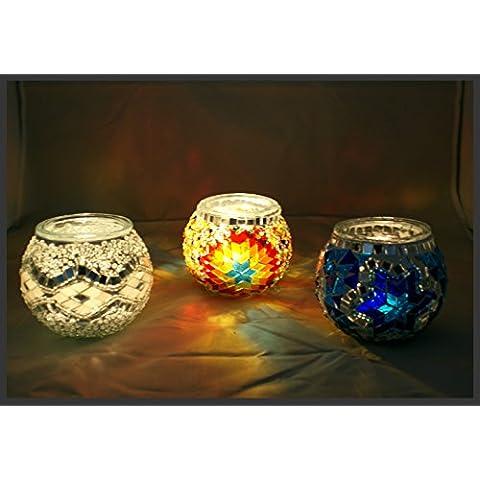 Mosaico Portacandela lumino vetro mosaico proiettore luce portacandela antivento, Blu Colorato Weis Samarkand Flash Lights