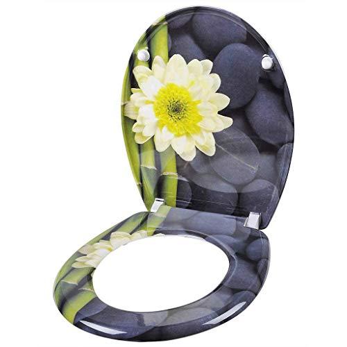 Premium WC-Sitz, Absenkautomatik, Absenkautomatik, verstellbare Scharniere, für Familien-Badezimmer, Toilettensitze Natur