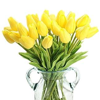 Qian Ya Ya(TM 1 Ramo de 10 Flores Artificiales de Tulipanes de Seda de imitación, Tacto Real, Ramo de Boda, decoración del hogar y Fiesta