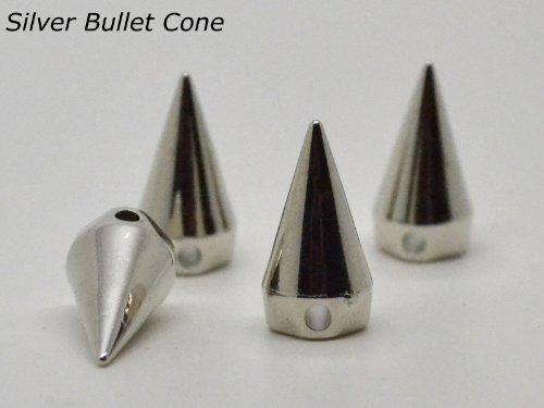 100-x-silver-12-x-19mm-eimassr-metallic-finish-ccb-acrylic-bullet-cone-flat-back-studs-beads-sew-on-