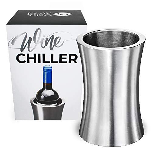 Rafraîchisseur Bouteille de Vin, Premium Acier Inoxydable - Élégant Argent - Refroidisseur de vin à Double Paroi - Gardez Votre Vin Parfaitement Refroidi - Cadeau de Noël Idéal ou Accessoire de Bar