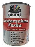Düfa Acryl Wetterschutzfarbe hochdecken für Innen&Außen Seidenglänzend Weiß 0,75 L