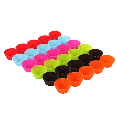 amathings 30 Stück = 1 Backblech Voll Wiederverwendbarer Muffin-Formen Cupcake Formen In 6 Farben Aus Hochwertigem Silikon