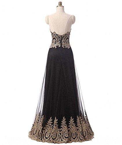 Carnivalprom Damen Schatz Abendkleider Lange Elegant HochzeitsKleid Mit Gold Applikationen Brautjungfernkleider Gold
