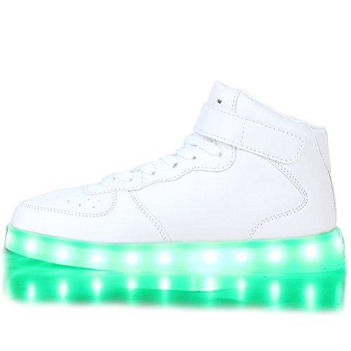 [Present:kleines Handtuch]JUNGLEST® Blinkende LED Damen Sneakers High Mu Weiß