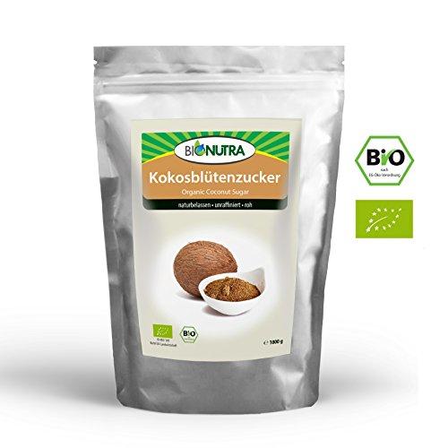 BioNutra Kokosblütenzucker Bio 1000 g braun, Kokoszucker, nicht raffiniert, natürlicher Rohzucker...