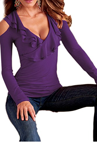 V-Neck manches froid Blouse Tops Yacun féminin purple