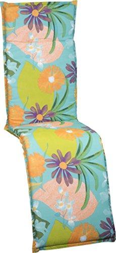 Gartenstuhlauflage Polster Aquarell Blumenmotiv M701 für Relaxstühle orange, türkis, rosé und grün - Orange Aquarell
