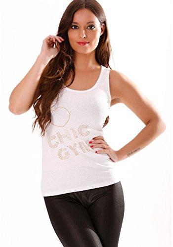 dmarkevous - Débardeur avec des motifs en strass dorée: Chic Gym Blanc