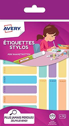 30 Étiquettes Autocollantes Résistantes pour Marquer les Stylos, Crayons, Feutres, Couleurs Pastels