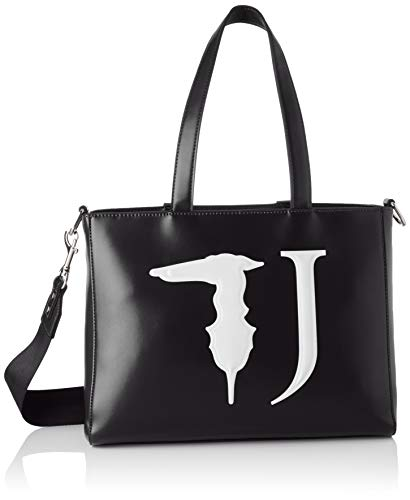Trussardi Jeans Damen T-Easy Tote Monocolor Bag, Schwarz (Black), 35x28x14 Centimeters - Denim Tote Bag Handtasche
