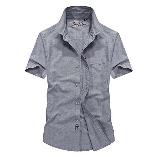 WALK-LEADER -  Camicia Casual  - Basic - Stand  - Maniche corte  - Uomo B-Grey