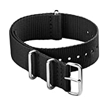 Archer Watch Straps - Classic Nylon NATO Straps | Choice of Color and Size (Black, 20mm)