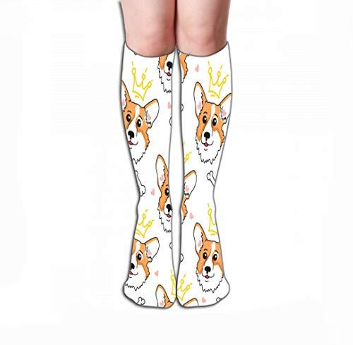Xunulyn Hohe Socken Men Women Outdoor Sports High Socks Stocking face Welsh Corgi Crown Seamless Pattern Cute Dog Tile Length 19.7