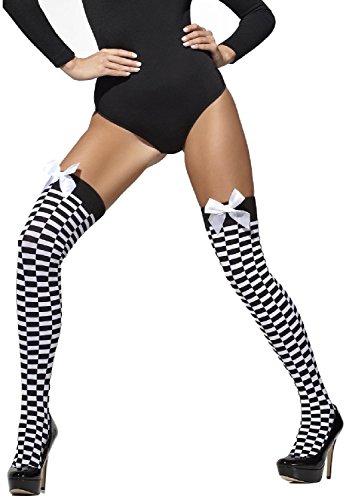 Kostüme Räuber Halloween Erwachsene (Damen schwarz & weiß Gestreift Handschellen oder Kariert Überführen WPC Polizistin Gefangene Polizist Räuber Sexy Halloween Kostüm Strümpfe Socken -)