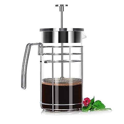 Cafetières à Piston KINGTOP Théière Filtre en Verre et Acier Inoxydable 8 Tasses / 1 Litre