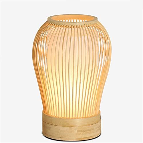 Lampada da tavolo ufficio moderno stile giapponese soggiorno comodino lampada da lettura a mano in gomma naturale legno bambù tessitura lampada da scrivania luce e27 con interruttore a pulsante