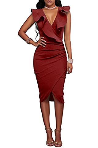 YMING Damen Stretchkleid Ärmellos Sommer Kleid Asymmetrisch Volant kleid Wickelkleid,Rot,M / DE 38-40