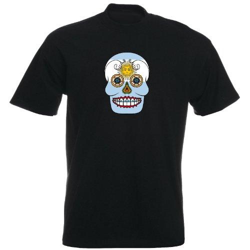 T-Shirt - Argentinien - Sugar Skull - Fahne - Herren - unisex Schwarz