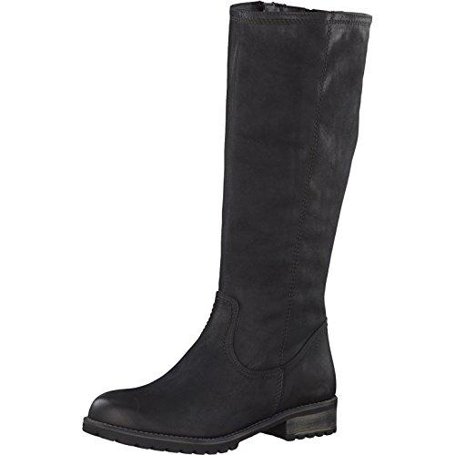 Tamaris Damen Stiefel 26690-21,Frauen Boots,Langschaftstiefel,gefüttert,Reißverschluss,Blockabsatz 3.5cm,Black,EU 37