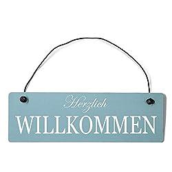 Deko Shabby Chic Schild Herzlich Willkommen Vintage Holz Türschild in hellblau mit Draht