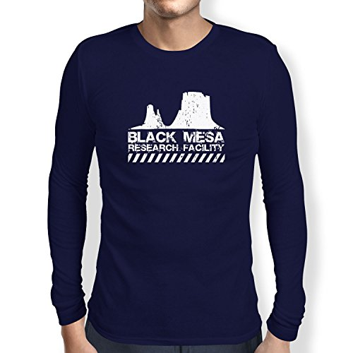 Texlab Black Mesa Research Facility - Langarm T-Shirt, Herren, Größe L, Dunkelblau (Black Mesa-shirt)