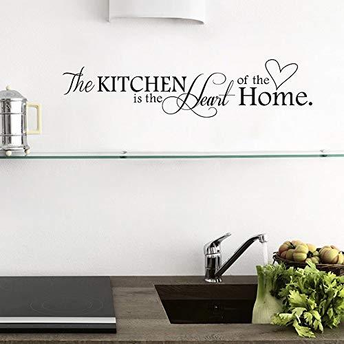 """ufengke® """"The Kitchen is the Heart of the Home"""" Wandtattoo Spruch Zitat, Wandaufkleber Wandbilder für Küche und Esszimmer"""