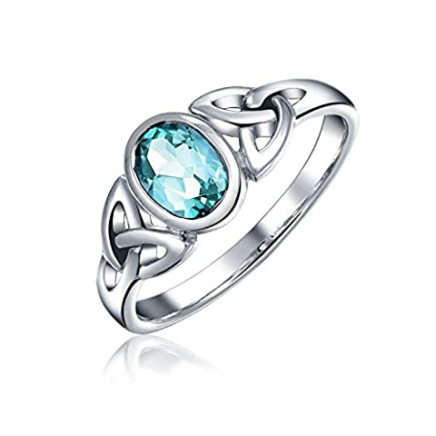 925 Sterling Silver Celtic Triquetra Blue Topaz Knot Ring