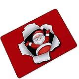 Epinki Gummi Teppich Bärtig Santa Claus Muster Teppiche für Wohnzimmer Küche Bunt 75x45CM
