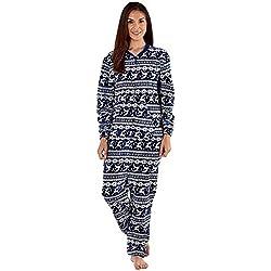 femmes polaire Ones femmes tout en un chemise de nuit pyjama combinaison grenouillère - Marine Fair Isle, EU 36-38